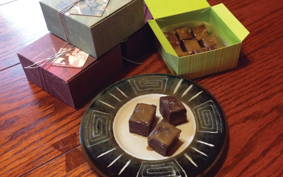 Salted caramel fudge and gift boxes